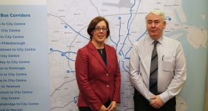 NTA chief executive Anne Graham and deputy chief executive Hugh Creegan at a briefing in November to unveil details of the BusConnects project. File photograph: Nick Bradshaw for The Irish Times