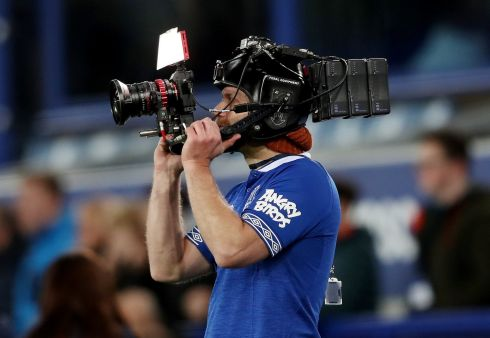 IN CAMERA: A photographic operator at work ahead of the Everton vs Watford Premier League game at Goodison Park, Liverpool. Photograph: Lee Smith/Action Images/Reuters
