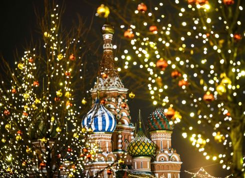 DECORATING MOSCOW: St Basil's Cathedral is surrounded by Christmas decorations on Red Square in Moscow. Photograph: Mladen Antonov/AFP/Getty Images
