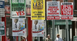 Lisbon treaty posters in Dorset Street, Dublin in 2008: initial objections centred on neutrality. Photograph: Matt Kavanagh
