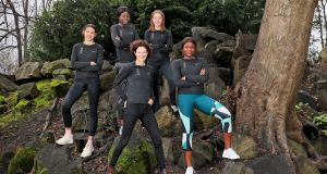 Sonia O'Sullivan with the four athletes who are participating in the new Accelerator Academy: Sophie O'Sullivan, Patience Jumbo-Gula, Sarah Healy and Rhasidat Adeleke. Photograph: Marc O'Sullivan