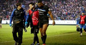 Bath's Joe Cokanasiga goes off injured during the Heineken Champions Cup game against Leinster at the Recreation Ground. Photograph: Ryan Byrne/Inpho
