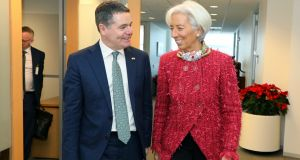 Paschal Donohoe  with Christine Lagarde: the Minister is in Washington for meetings with senior officials from the Trump administration and   the IMF. Photograph: Marty Katz/ washingtonphotographer.com