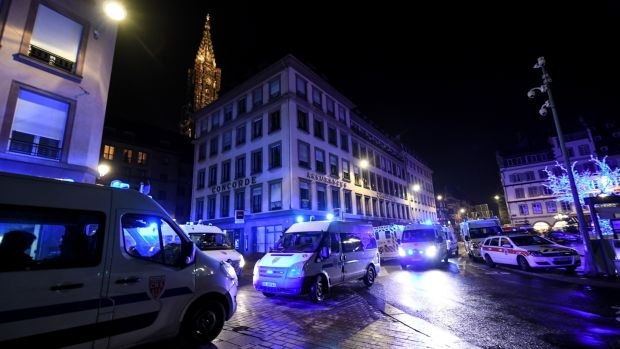 Rescue vehicles are parked near the Christmas market where a deadly shooting took place in Strasbourg, France, 12th December 2018. Photograph: Patrick Seeger/EPA