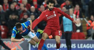 Liverpool's Mohamed Salah in action against Napoli. Photograph: Peter Byrne/PA
