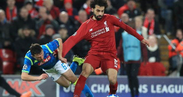 9f15b72138e Liverpool's Mohamed Salah in action against Napoli. Photograph: Peter  Byrne/PA