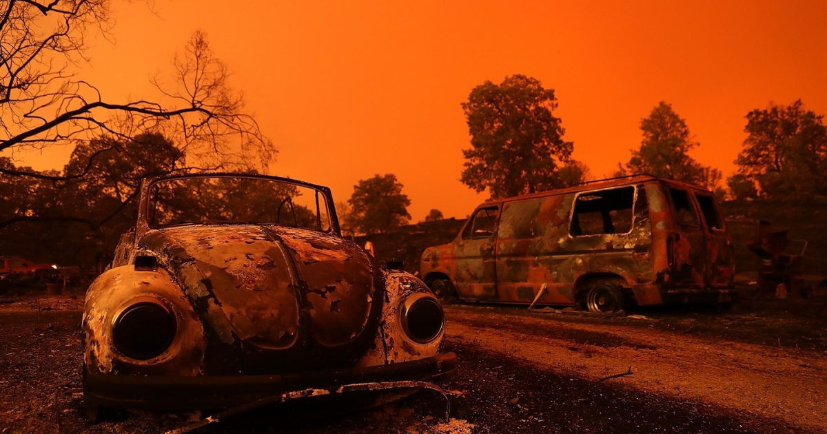 The remains of cars destroyed by the Carr Fire in July in Redding, California. No one was even vaguely surprised that Trump's response to the wildfires was to deny that they had anything to do with climate change. Photograph:   Justin Sullivan/Getty Images