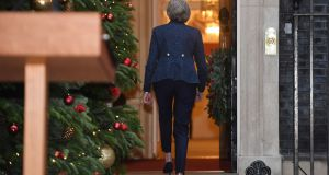 UK prime minister Theresa May walks back to number 10 after making a statement in Downing Street. Photograph: Stefan Rousseau/PA Wire