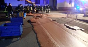 Factory leak sees German street paved with chocolate