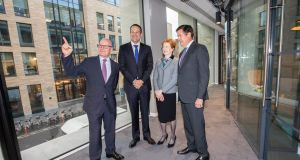Kevin Wall, chief executive, Barclays Bank Ireland; Helen Keelan, chairperson, and Jes Staley, Barclays group chief executive, show Leo Varadkar around the bank's new Dublin office. Photograph: Naoise Culhane
