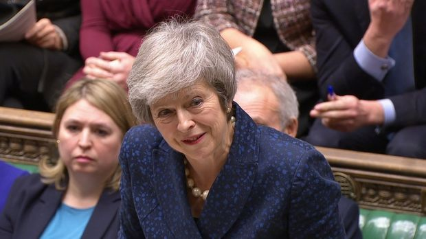 Britain's prime minister Theresa May speaks at prime minister's questions in the House of Commons, London, Britain, December 12th, 2018. Photograph: Parliament TV/Reuters
