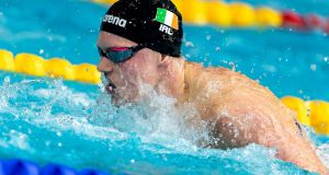 Brendan Hyland broke the Irish record in the 100m butterfly at the Fina World Swimming Championships in China. Photograph: Andrea Staccioli/Inpho