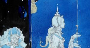 Harry Clarke, Madeline, St Agnes's charmed maid (detail), design for the Eve of St Agnes window, circa 1923. Collection: Crawford Art Gallery