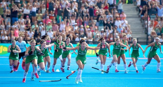 Ireland celebrate their   shoot-out win over Spain. Photograph: Inpho/Sandra Mailer