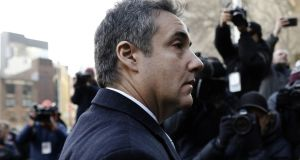Michael Cohen arrives at federal court in New York, US, on Wednesday. Photographer: Peter Foley/Bloomberg