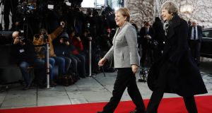 "Angela Merkel and Theresa May in Berli on Tuesday. The German chancellor told deputies after their meeting she could envision offering additional ""securities"" to the UK but would not consider reopening the withdrawal treaty. Photograph: Michele Tantussi/Getty Images"