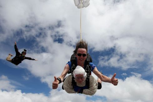 WHY NOT? Irene O'Shea (102) during her skydive tandem jump over Wellington in South Australia. She is believed to have become the world's oldest skydiver after plunging 4,300m in Australia. Photograph: Bryce Sellick/Matt Teager/AFP/Getty Images