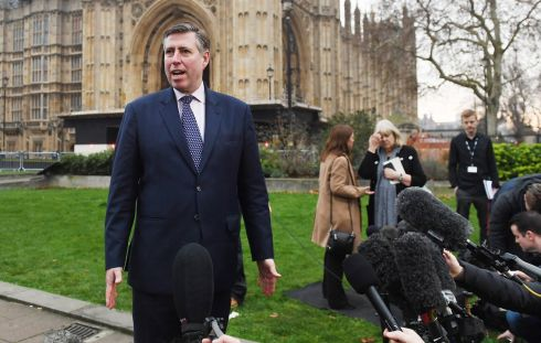 IN THE SPOTLIGHT: Chariman of the 1922 Committee Sir Graham Brady speaks to the media outside parliament in London. Prime minister Theresa May faces a vote of no confidence after 48 letters calling for a contest were delivered to Sir Graham. Photograph: Andy Rain/EPA