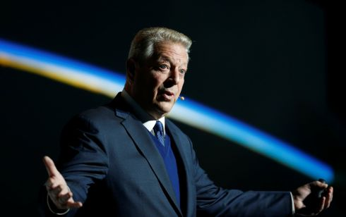 AN INCONVENIENT REALITY: Al Gore, former US vice-president and Climate Reality Project chairman, gestures as he speaks at the COP24 UN Climate Change Conference 2018 in Katowice, Poland. Photograph: Agencja Gazeta/Grzegorz Celejewski/via Reuters