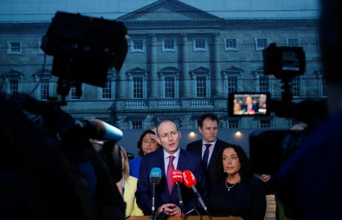 WHAT'S ANOTHER YEAR? Fianna Fáil leader Micheál Martin with party colleagues at a press conference outside Leinster House following the announcement of the extension until the end of 2019 of the confidence-and-supply agreement with Fine Gael. Photograph: Nick Bradshaw for The Irish Times