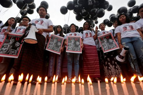 PRESS FREEDOM: Activists call for the release of imprisoned Reuters journalists Wa Lone and Kyaw Soe Oo, one year after they were arrested, in Yangon, Myanmar. Photograph: Myat Thu Kyaw/Reuters