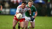 Fermanagh's Cian McManus and Tyrone's Darren McCurry. Photograph: John McVitty/Inpho