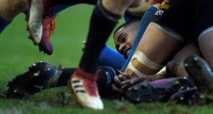 Bath v Leinster breakdown:  Joe Cokanasiga trapped at the bottom of a ruck. Action Images via Reuters/Adam Holt