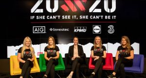 Stephanie Meadow (golf), Laura Twomey (camogie), Casey Stoney (soccer), Louise Quinn (soccer), and Sarah Rowe (Mayo GAA) at the launch of 20x20. It aims to increase participation, attendance and media coverage of women's sport by 20% by the year 2020. Photograph: Morgan Treacy/Inpho
