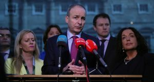 Fianna Fáil leader Micheál Martin speaks to the media on the plinth at Leinster House. Photograph: Brian Lawless/PA Wire