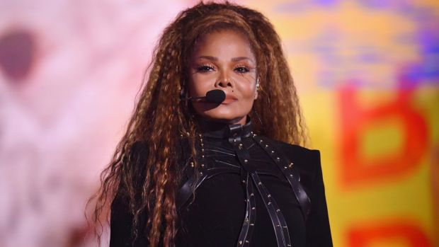 Janet Jackson performs on stage wearing a black leather bodice by Irish designer Una Burke at the MTV European Video Music Awards in Bilbao, Spain. Photograph: Jeff Kravitz/ FilmMagic