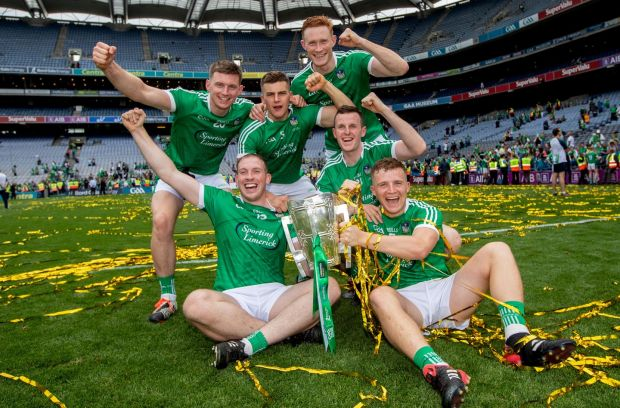 Limerick's Na Piarsaigh contingent Kevin Downes, Mike Casey, William O'Donoghue, Shane Dowling, David Dempsey and Peter Casey enjoy the county's All-Ireland breakthrough. Photograph: Inpho/James Crombie