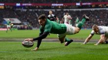 March 17th: Jacob Stockdale touches down Ireland's third try against England at Twickenham Stadium. Photograph: Shaun Botterill/Getty Images
