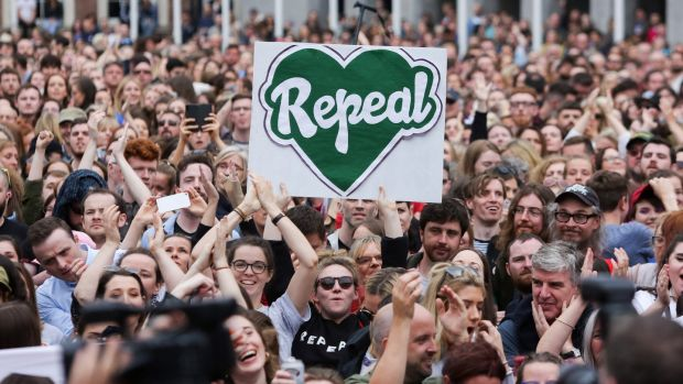 May 25th: The abortion referendum to repeal the Eighth Amendment to the Constitution ends in a landslide victory for the Yes side. Photograph: Gareth Chaney/Collins
