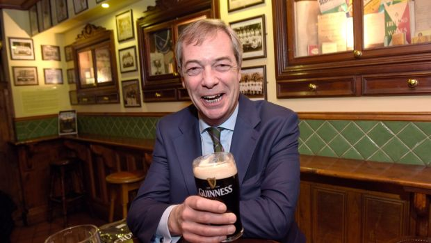 February 3rd: Nigel Farage enjoys a pint of Guinness in Crowe's pub, Ballsbridge, after speaking at the Freedom to Prosper conference in the RDS. Photograph: Bryan Meade