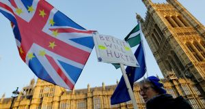 Anti-Brexit protests at the Houses of Parliament in London: The Society of the Irish Motor Industry is calling on the Government to step up its preparations for a potential no-deal Brexit