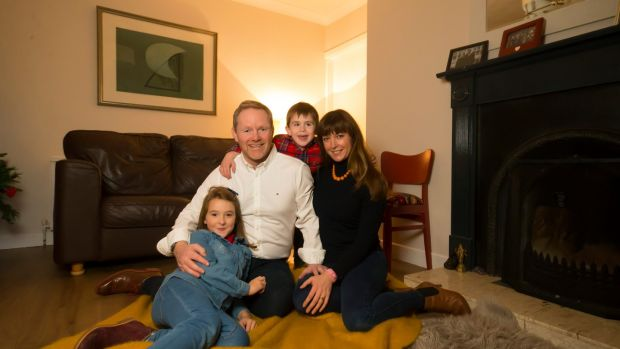 Michael Quinn and Jessica Statham with their children Michael and Bella in their home in Powerscourt, Waterford city. Photograph: Patrick Browne