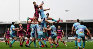 Gerbrandt Grobler of Gloucester Rugby beats Sam Skinner of Exeter Chiefs to the ball in the lineout last weekend. Photograph: Alex Davidson/Getty Images