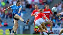 Dublin's Sinead Aherne takes a shot in the final. Photograph: Tommy Dickson/Inpho