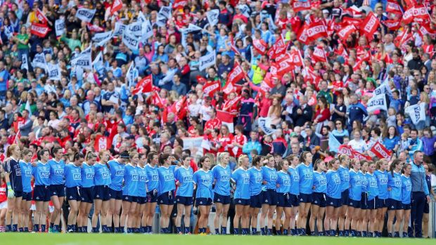 The Dublin team during the national anthem. Photograph: Tommy Dickson/Inpho