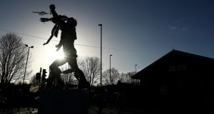 The Billy Bremner statue at Elland Road ahead of the Sky Bet Championship match between Leeds United and Queens Park Rangers. Photograph: Matthew Lewis/Getty Images