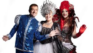 Alan Hughes as Sammy Sausages, Mary Byrne as Fairy Mary and Rob Murphy as Buffy in the Cheerios Panto Snow White and the Adventures of Sammy Sausages & Buffy