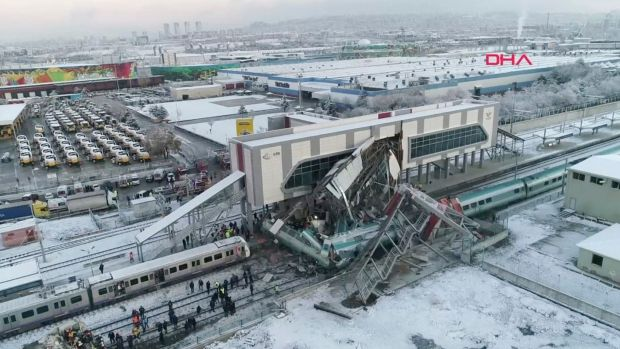 This image made from video shows the aftermath of a high-speed train crash at a station in Ankara, Turkey. Photograph: DHA/ AP