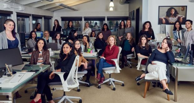 Members of the staff of Lean In, the organisation founded by Sheryl Sandberg, in Palo Alto, California. Photograph: Jessica Chou/New York Times