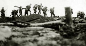 Irish troops moving over the captured German second line at Cambrai: Great War casualties and absent voters affected election results, particularly for the Irish Party and unionists. Photograph: Paul Popper/Popperfoto/Getty
