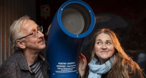 Paul Maddern and Maria McManus with the Poetry Jukebox