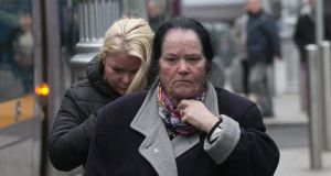 (L to R) Biddy (Bridget) O'Brien & Bridie (Bridget) O'Brien grandmother of Holly & Jordan during the Coroners Court inquest into the deaths of Anne-Marie O'Brien and unborn baby, Hannah Paris O'Brien, Holly O'Brien and Jordan McGinn on Store Street, Dublin. Photograph: Gareth Chaney Collins