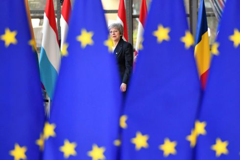 OUT OF THE FIRE... British prime minister Theresa May arrives for an EU summit in Brussels, which will centre on the Brexit negotiations. Photograph: Geert Vanden Wijngaert/AP