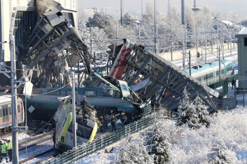 TURKEY TRAIN CRASH: Firefighters and medics try to rescue victims after a high speed train accident in Ankara, Turkey. According to reports, at least four people were killed and more than 40 were wounded. Photograph: EPA