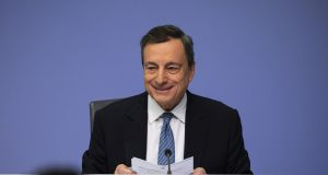 Smiling through the gloom: Mario Draghi warned that risks to the euro zone economy are worsening. Photograph: Bloomberg