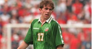Gareth Farrelly playing for the Republic of Ireland in 1996. Photograph: Billy Stickland/Inpho